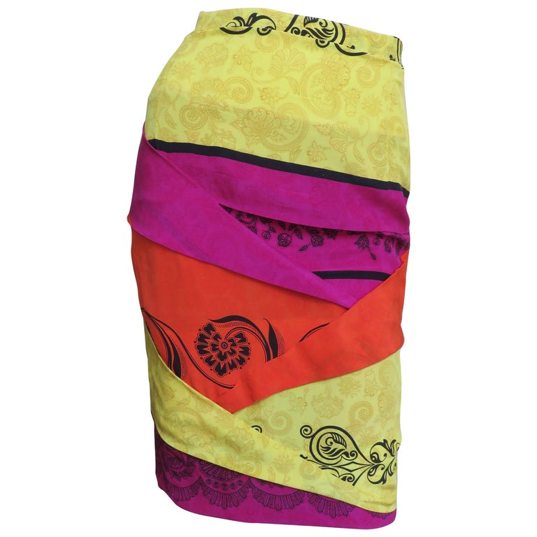 1990s Gianni Versace Origami Color Block Skirt