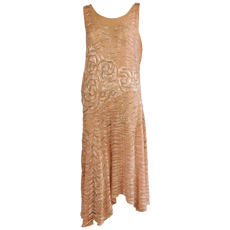1920's Beaded Pink Silk Chiffon Gatsby Era Evening Dress