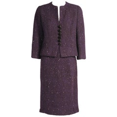 Cristobal Balenciaga Eisa Haute Couture Deep Purple Wool Tweed Skirt Suit