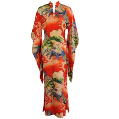 Gladys Williams Hawaiian Dress Red Silk Print with a Japanese Inspired Design