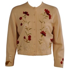 Helen Bond Carruthers Cashmere Sweater with Antique Silk Floral Appliques