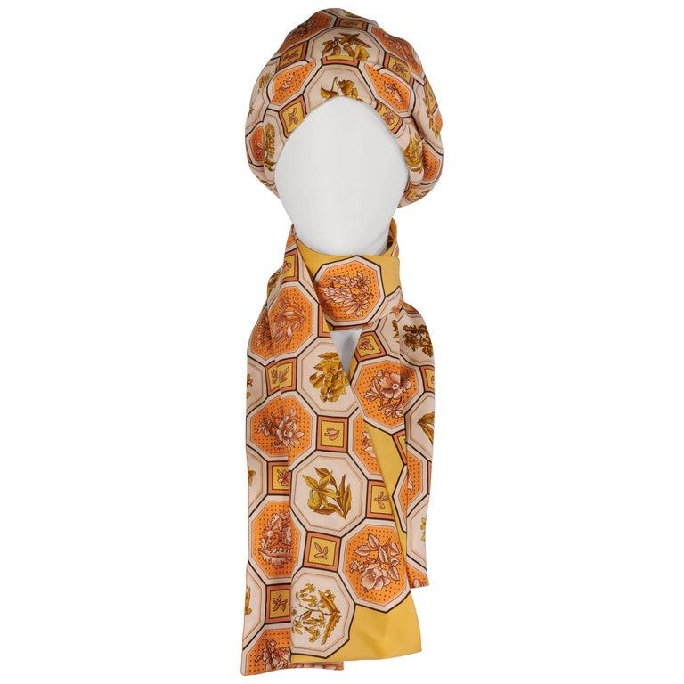 Hermes Vintage Silk Scarf Print Turban and Matching Silk Scarf
