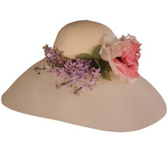 Patricia Underwood Spectacularly Large Wide Brimmed Flower Trimmed Picture Hat