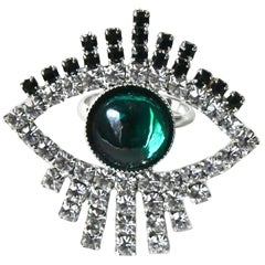 Green Swarovski Evil Eye Ring