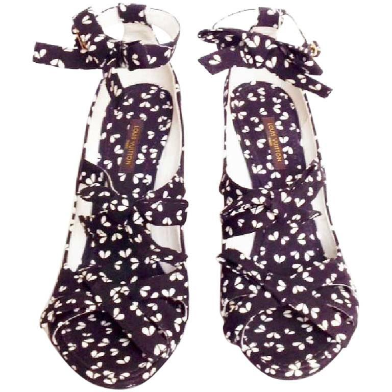 LOUIS VUITTON Open Toes Wedge Pumps in Printed Canvas