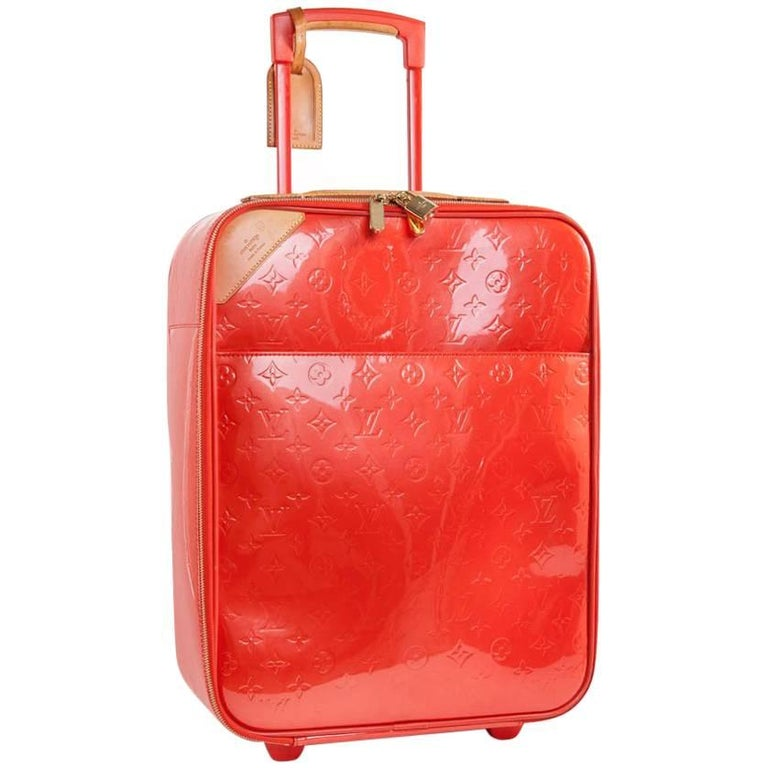 Louis Vuitton Monogram Orange Embossed Patent Leather Suitcase