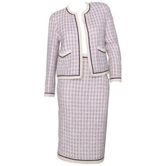 Chanel Vintage Purple Boucle Skirt Suit