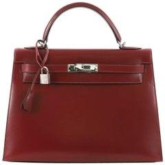 Hermes Kelly Handbag Rouge H Box Calf with Palladium Hardware 32