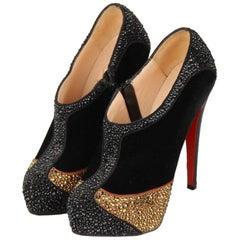 CHRISTIAN LOUBOUTIN Black Velvet Laelia Strass 140 Ankle Boots Size 36