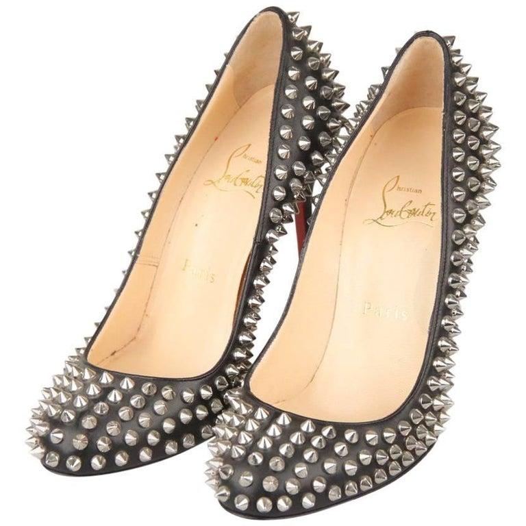 CHRISTIAN LOUBOUTIN Black Leather Follies Spikes 100 Pumps Shoes 36.5