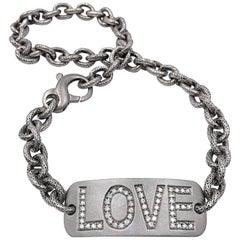 White Diamond LOVE Personalized Double Wrap Bracelet