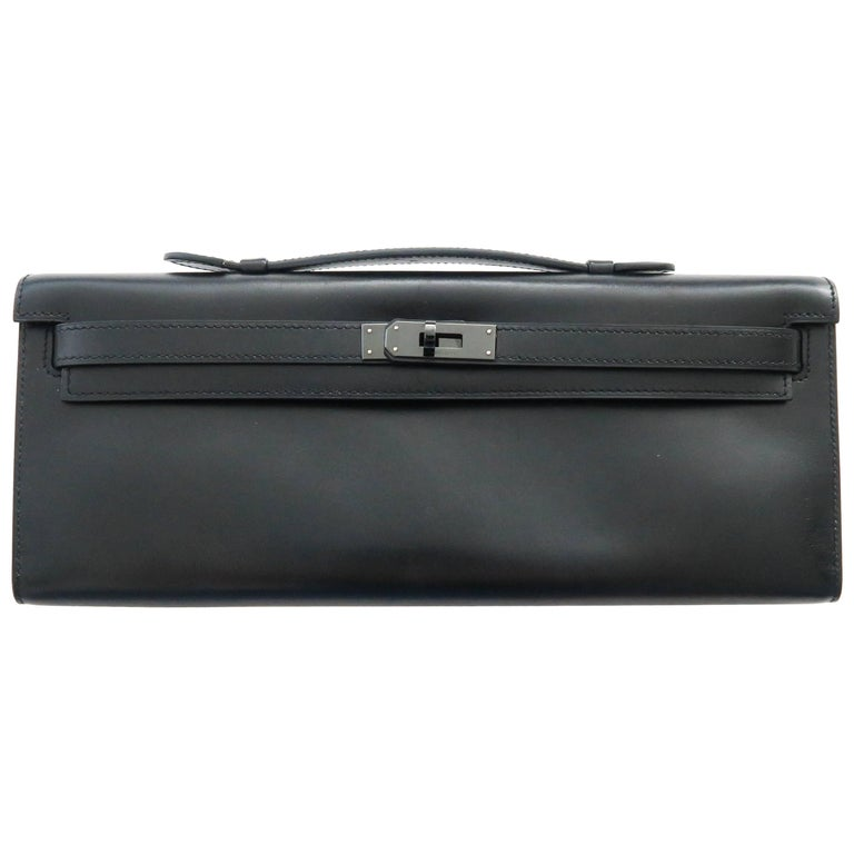 Hermes Kelly Cut Clutch Q Square Stamp in So Black with Blacktone hardware