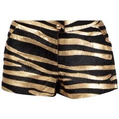 Chanel Gold & Black Leather Zebra Shorts, 2000