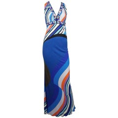 Emilio Pucci Multi Print Sleeveless Maxi Dress