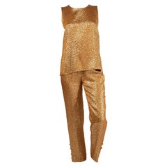Chanel Gold Shirt and Pant Set Gripoix Buttons  Documented, 1996