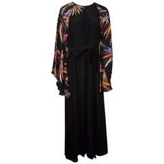 Emilio Pucci Black and Multi Silk Beaded Gown - 48