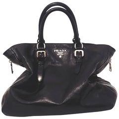 Prada Black Leather Daino Tote Bag
