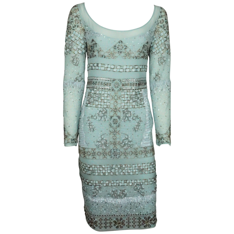 Emilio Pucci Aqua Silk Chiffon Fully Beaded Dress