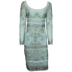 Emilio Pucci Aqua Silk Chiffon Fully Beaded Dress