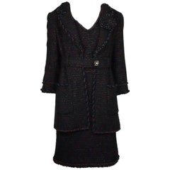 Chanel Black and Copper Tweed Dress and Jacket