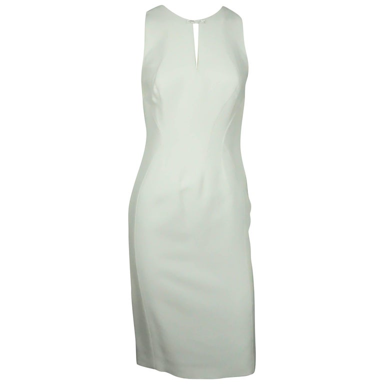 Versace Ivory Silk Sleeveless Dress