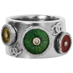 Chanel Silver & Multi-Colored Enamel Ring sz 6.5