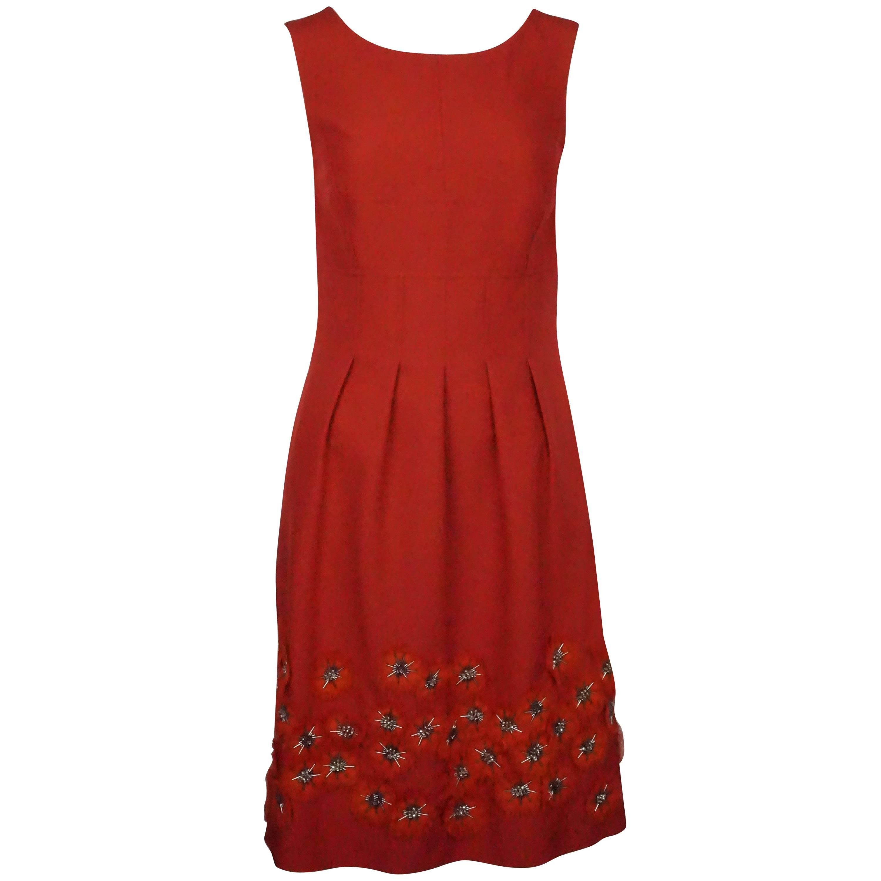 Lela Rose Red Silk Dress with Appliques