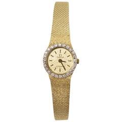 Omega Vintage Diamond & 14k Gold 15mm Watch