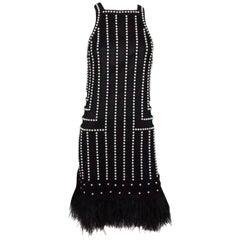 Joanna Mastroianni Black Sleeveless Pearl Beaded Dress with Feathers