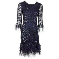 Joanna Mastroianni Navy Beaded Dress with Feathers