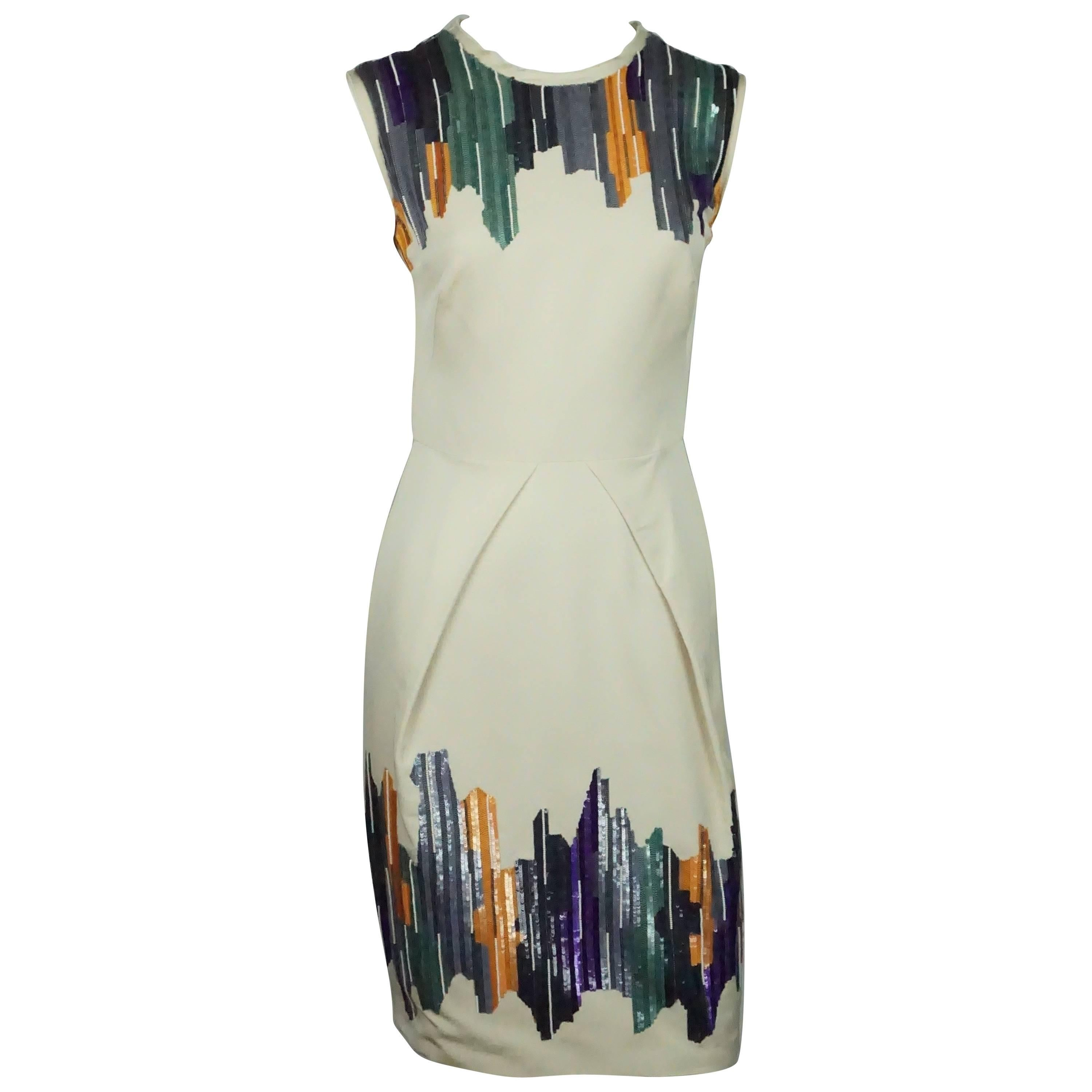 Lela Rose Beige and Multi Silk and Sequin Dress - Small