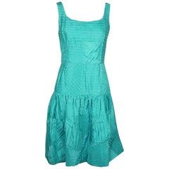 Oscar De La Renta Teal Silk Shutter Pleat Dress