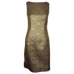 Carolina Herrera Gold and Purple Brocade Dress