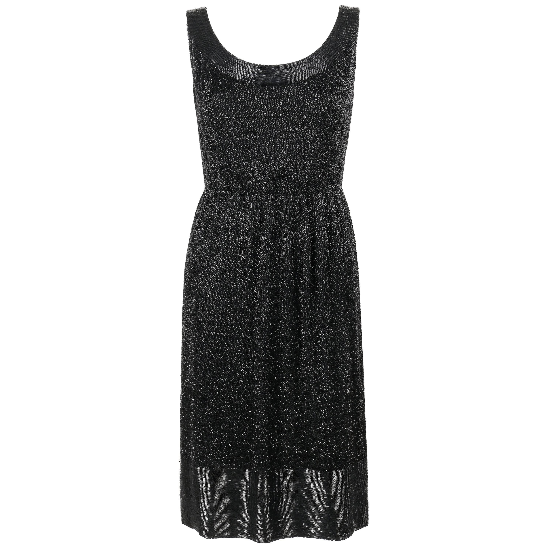 MOLLIE PARNIS New York c.1960s Black Silk Beaded Sleeveless Shift Cocktail Dress