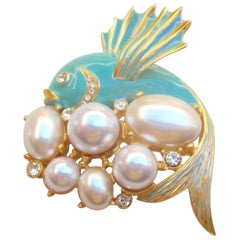 Kenneth Lane KJL Pearl Enamel Fish Statement Brooch Pin