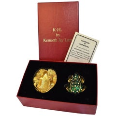 Kenneth Jay Lane KJL Green Frog Pin Brooch Snuff Pill Box