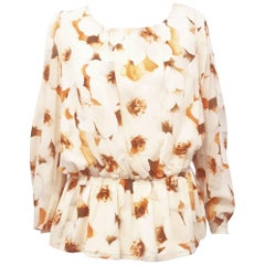 St. John Beige / Orange Floral Scoop Neck Long Sleeve Blouse with Matching Scarf