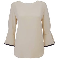 Chloe Beige Round Collar and Long Sleeve Silk Blouse