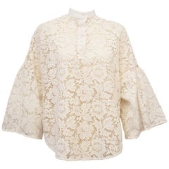 Valentino Ivory Mandarin Collar Lace Top with Wide Bell Sleeves