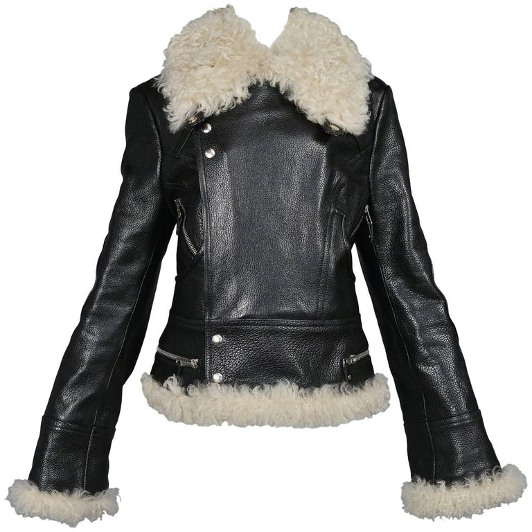 Balenciaga Leather and Goat Fur Motorcycle Jacket, A / W 2004