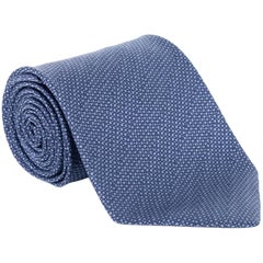"Tom Ford Mens Blue Dimond Grid Dot Silk 4"" Classic Tie"