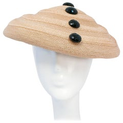 Lilly Daché Woven Straw Hat with Glass Buttons, 1950s