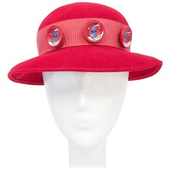 1930s Red Felt hat with Hand Painted Ski Buttons
