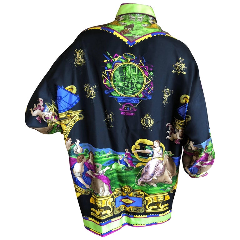 Gianni Versace Vintage Atelier Versace 1992 Silk Blouse / Shirt Unisex 44