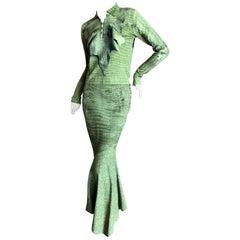 John Galliano 1990's Alligator Print Cashmere Sweater w Matching Mermaid Skirt