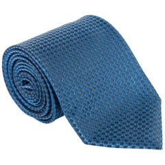 "Tom Ford Mens Dark Blue Dimond Grid Dot Silk 4"" Classic Tie"