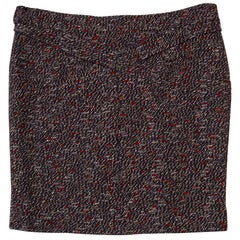 Chanel Fall '13 Runway Red & Navy Wool Skirt sz FR48