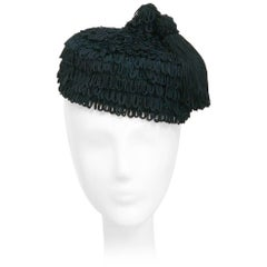 1940s Black Fringe Hat with Matching Tassel
