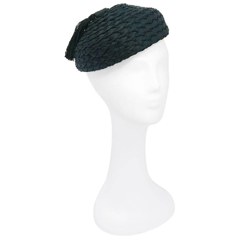 1930s Black Braided Hat with Matching Tassel
