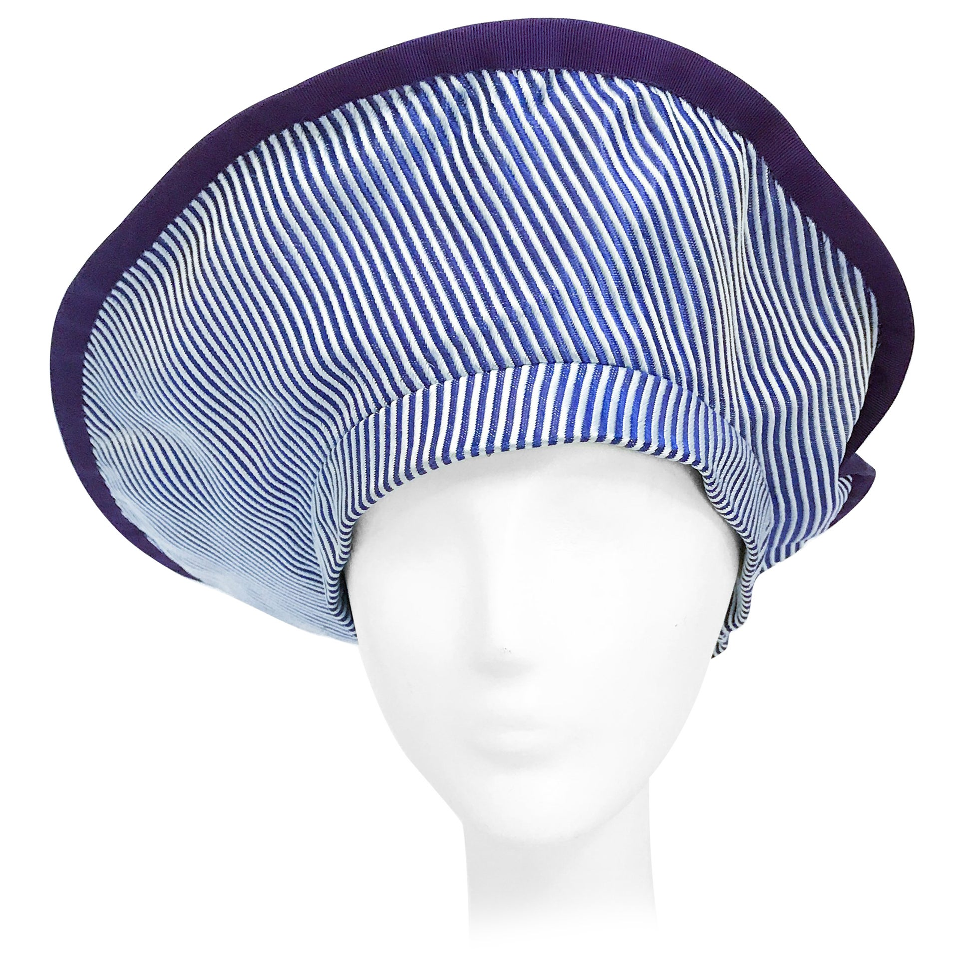 1970s Purple and White Stripped Silk Tam